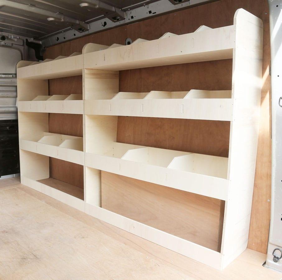 Nissan NV300 SWB 2015-2019 OS Front Angled Shelves Lightweight Plywood Van Shelving Tool Rack Racking Storage System