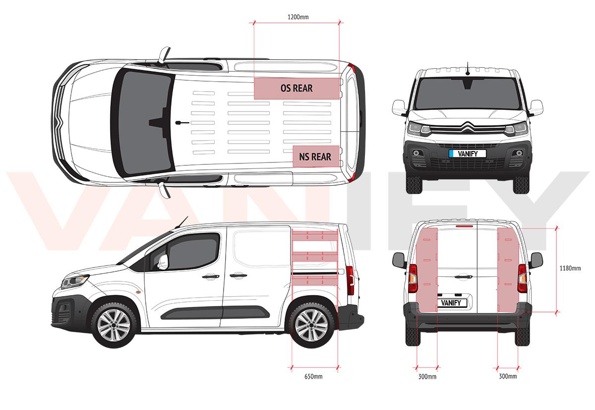 Citroen Berlingo Van Racking dimensions and configurations
